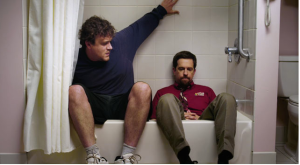 Jason Segal and Ed Helms, sat in a hotel bathtub discussing life and love